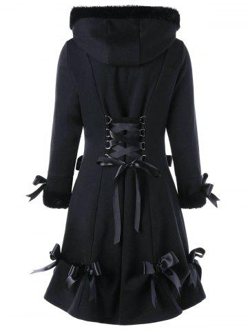 Shops Hooded Bowknot Heart Pocket Long Lace-up Coat