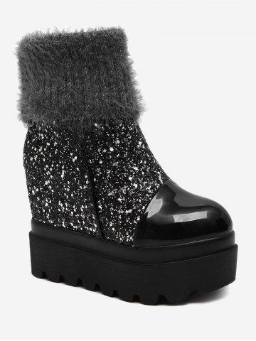 Hot Platform Fold Over Glitter Mid Calf Boots