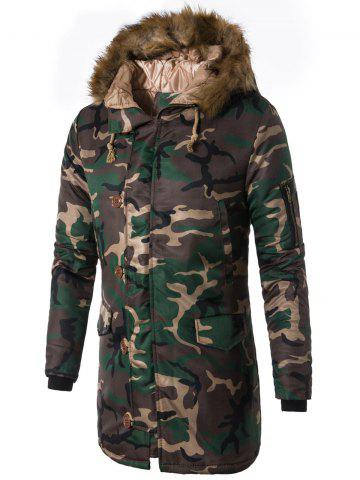 Best Zip Up Faux Fur Hooded Camouflage Coat