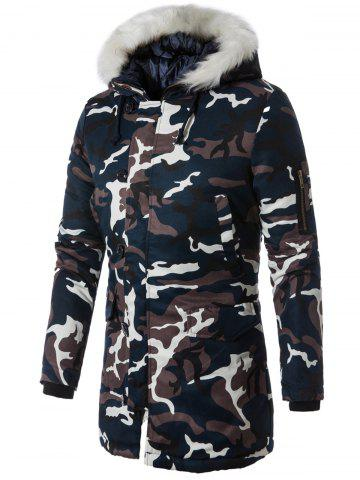 Chic Zip Up Faux Fur Hooded Camouflage Coat
