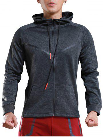 Hot Contrast Drawstring Hooded Sports Track Jacket