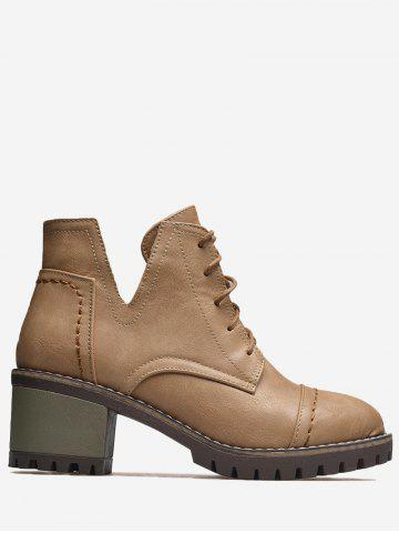 Cheap Stitching Curve Chunky Heel Boots