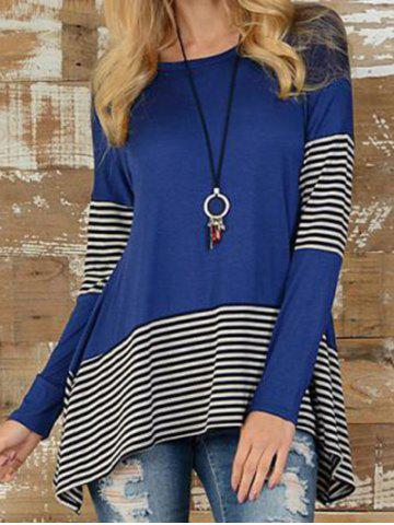 Asymmetric Striped Printed T-shirt