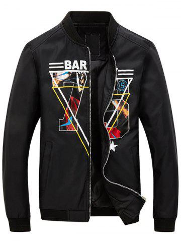 Fancy 3D Geometric Graphic Print Zip Up Jacket
