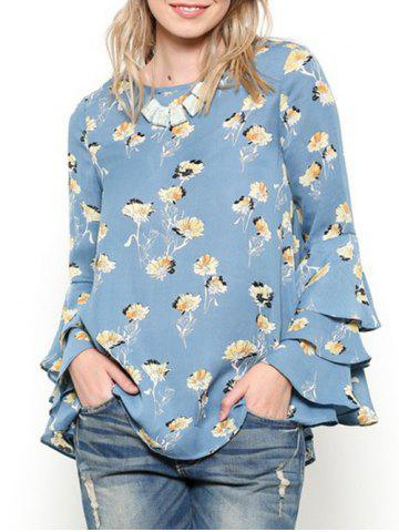 Layered Flare Sleeve Tiny Floral Printed Shirt