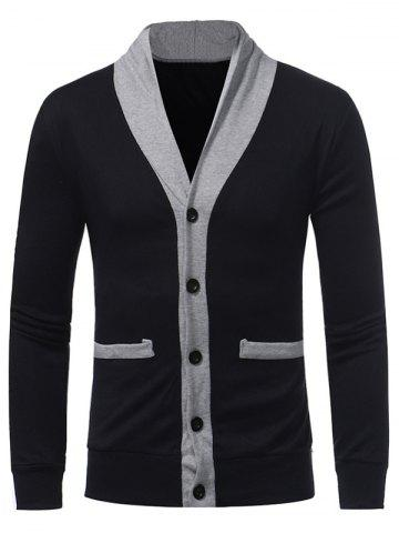 Cheap Color Block Panel Button Up Cardigan