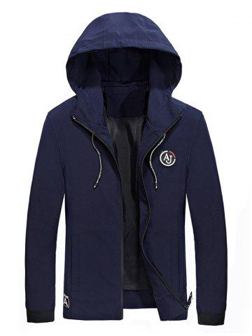 Drawstring Hooded Appliques Zip Up Jacket