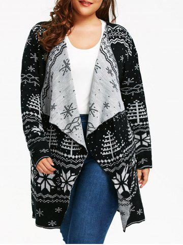 Sale Christmas Snowflake Plus Size Tunic Draped Cardigan