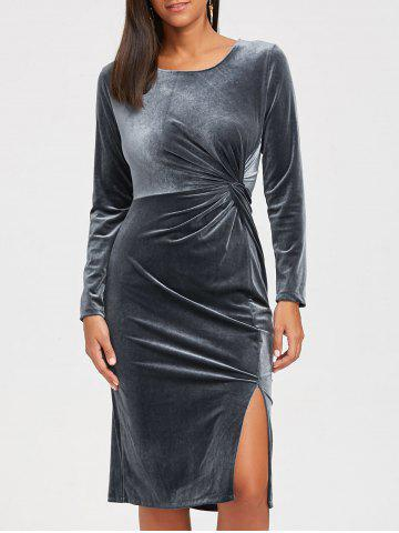 Store Long Sleeve Front Knot Midi Velvet Bodycon Dress