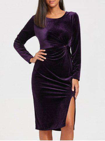 Best Long Sleeve Front Knot Midi Velvet Bodycon Dress