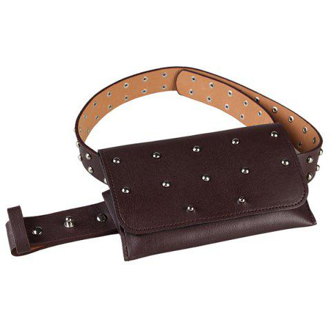 Store Vintage Mini Rivet Bag Decorated Faux Leather Belt