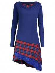 Asymmetric Lace Trim Plus Size Plaid Panel Blouse -
