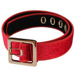 Retro Metal Buckle Faux Suede Waist Belt - RED