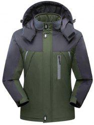 Two Tone Zip Up Flocking Ski Jacket - ARMY GREEN 5XL