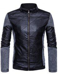 Zip Up Faux Leather Insert Jacket - BLACK 3XL