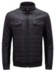 Grid Check Quited Faux Leather Jacket - BLACK XL