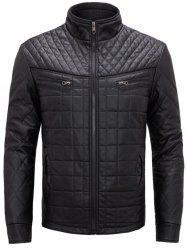 Checked Grid Quilted Faux Leather Jacket - BLACK XL
