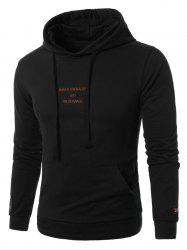 Graphic Embroidered Pocket Pullover Hoodie - BLACK 5XL