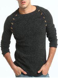 Raglan Sleeve Button Embellished Sweater - DEEP GRAY 3XL