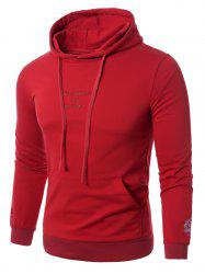 Graphic Embroidered Pocket Pullover Hoodie - RED 5XL