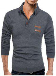 Half Button Long Sleeve Polo Sweater - DEEP GRAY 3XL
