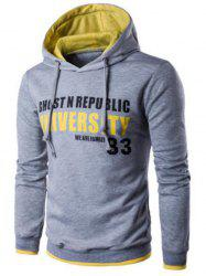 Pockets Graphic Printed Pullover Hoodie - LIGHT GRAY 2XL
