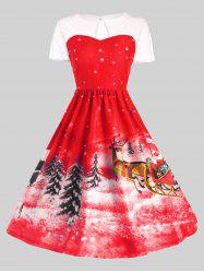 Father Christmas Sleigh Party Gown Dress - RED XL