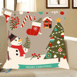 Christmas Decorations Snowman Patterned Throw Pillow Case - Colorful - W18 Inch * L18 Inch