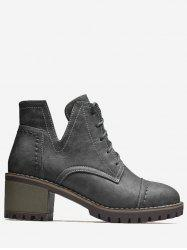 Stitching Curve Chunky Heel Boots - GRAY 41