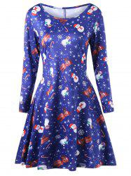Plus Size Elk Print Long Sleeve Christmas Skater Dress -