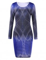 3D Geometric Print Long Sleeve Bodycon Dress - BLUE 2XL