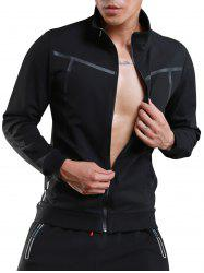 Stand Collar Zip Up Sports Track Jacket - BLACK 2XL