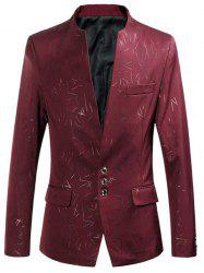 Collarless Single Breasted Printed Blazer - RED 4XL