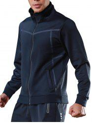 Stand Collar Zip Up Sports Track Jacket - BLUE L