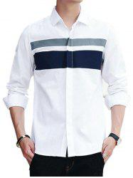 Covered Button Long Sleeve Striped Shirt - WHITE XL