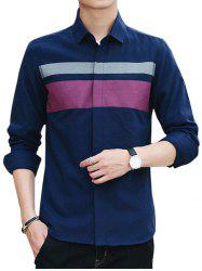 Covered Button Long Sleeve Striped Shirt - CADETBLUE 2XL