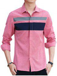 Covered Button Long Sleeve Striped Shirt - PINK L