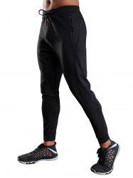 Zip Slot Pockets Drawstring Sports Athletic Pants - BLACK XL
