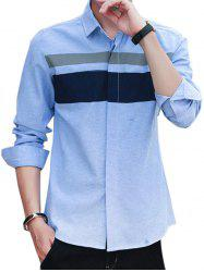 Covered Button Long Sleeve Striped Shirt - WINDSOR BLUE 2XL