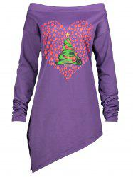 Christmas Tree Heart Printed Asymmetrical Plus Size Tee - PURPLE 3XL