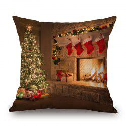 Christmas Tree Fireplace Print Pillowcase - Brown - 45*45cm