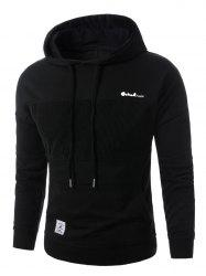 Corduroy Panel Embroidered Pullover Hoodie - BLACK XL
