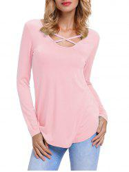 Front Cross Floral Insert Long Sleeve Top - PINK L