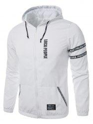 Graphic Braid Embellished Zip Up Lightweight Jacket - WHITE XL