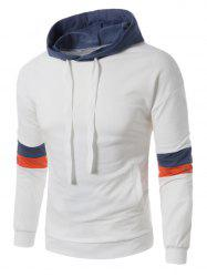 Color Block Panel Drawstring Pullover Hoodie - WHITE 3XL