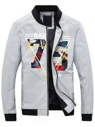 3D Geometric Graphic Print Zip Up Jacket - GRAY XL