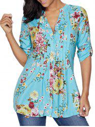 Pleated V Neck Floral Blouse - LIGHT BLUE 2XL