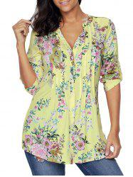 Pleated V Neck Floral Blouse - YELLOW XL