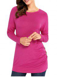 Long Sleeve Button Embellished Tunic Top - ROSE RED M