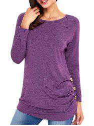 Long Sleeve Button Embellished Tunic Top - PURPLE 2XL